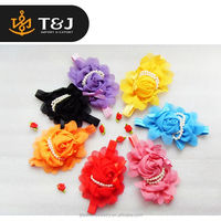 c<<<New Design 8 Color flower Shaped pearl headdress Beautiful Infant Baby Headband/