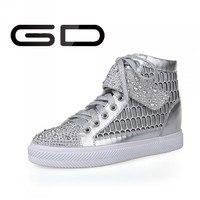 Crystal height increasing lace-up lady sneakers