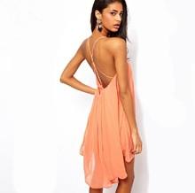 2015 New Brand Summer Behind Cross Sleeveless Simple Chiffon Dress Wholesale Fashion Casual Women's Chiffon Dress