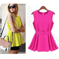 beautiful clothes 2015 Chiffon Sleeveless O-Neck Casual Shirt Tops Blouse for woman S-XL 16287 lace ropa mujer