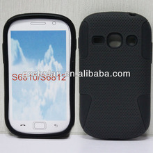 New arrival pc silicone case for samsung galaxy fame s6810 mesh combo case