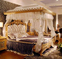 Luxury French Rococo Style Wood Carved Canopy Bed/ Fantastic Royal Four Poster King Size Bed/ Fancy European Bedroom Furniture