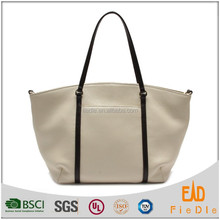 CSS1188-001 2015 Hot sale beige color pebble grain leather handbag office lady satchels with chocolate color handle strap