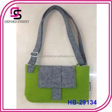 Custom design green wool felt sholder bag for women