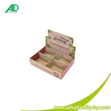 Terra balm compartment cardboard counter display top standing for cosmetic makeup sets skin care retail sales