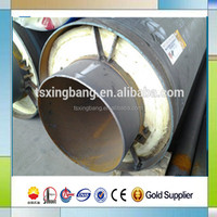 hot water and hot steam insulated steel pipe with glass steel jacket for central heating network