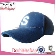 Men's Faux Solid Plain Basketball Snapback Melton baseball caps Hat Blue Baseball caps custom