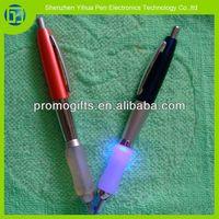 Pro 2 in 1 led light pen,ballpoint led pen with soft rubber grip,soft grip light pen