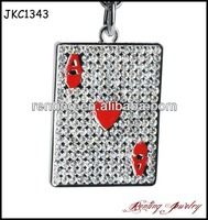 High Quality Poker Heart A Metal Rhinestone crystal Keychain