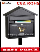 FQ-102 Modern outdoor cast iron mailbox metal steel mailbox iron letterbox with 3 colors can stand on ground