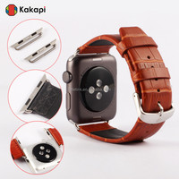 wholesale Real Leather Crocodile Texture watch strap adapter for apple watch