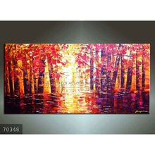 Handmade palette knife forest landscape oil painting on canvas, Woods by lake, Woods in wate
