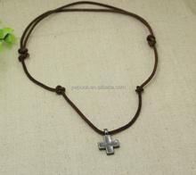 Super fashion adjustable top qualit anti silver men necklace jewelry plain cross pendant fashion chain