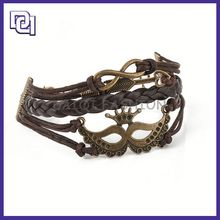 antique classical style handmade bracelet with leather,wrap around leather bracelet, wrap popular charm bracelet for cool teens
