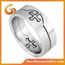 Factory sale stainless steel two goup cross puzzle ring