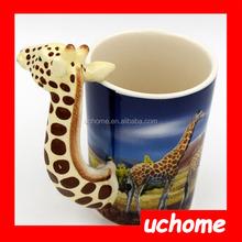 UCHOME giraffe ceramic coffee mug in colorful box