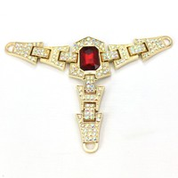 Middle Red Stone Small AB Crystal Stone Gold Plating Ladies Shoes T Chain
