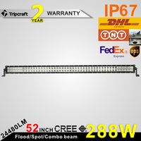 52'' hight quality led light bar 288w white/amber auto light double row 4x4 off road for truck