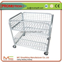 Supermarket Wheeled Roll Promotion Table Cage