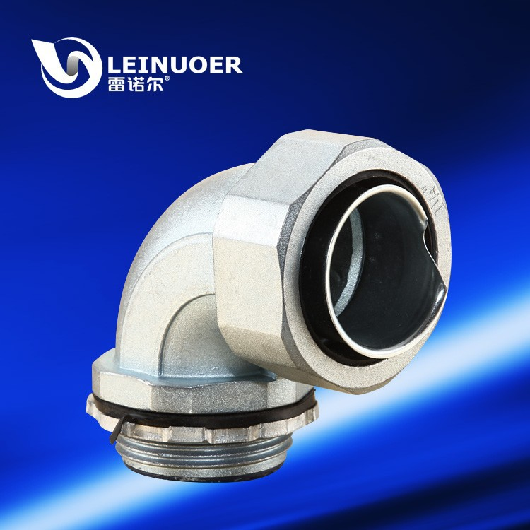 Right Angle Union : Electrical right angle zinc alloy elbow union connector