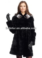 best quality lady's mink fur with real chinchilla fur coat 14D121