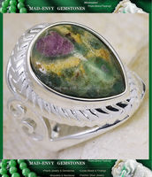 12Ct Ruby Fuchsite 925 Solid Sterling Silver Victorian Style Gemstone Ring Size 8 MR469