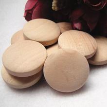handmade Natural wood Flat Round Wood Beads 24*8mm