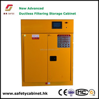 Filtration safety acid cabinets eliminate noxious vapors and protect against chemical inhalation
