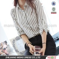Latest custom lady blouse multi stripes chiffon Women blouse