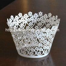 hot sale laser cut flowers cupcake wrapper elegant party decorations