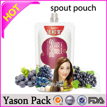 Yason stand up bags/spout pouches/fruit juice bags with bottom gussettransparent plastic spout pouches with handle round bottoml