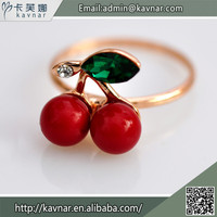Hot Selling Style Fashion Ring Cute Red Cherry with Green Leaf Finger Ring Designs for Girls R3650
