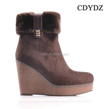 CDYDZ R1320-A7257 women wedges Snow boots high-heeled brown suede side zip shoes boots for Women 2015 new European and American