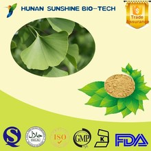 Made in China Wholesale 24%Total Ginkgo flavone glycosides 6%Total terpene lactones /Ginkgo Bioba Extract Powder