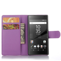 Luxury Litchi PU Leather Wallet Folio Stand Flip Case With Card Slot For Sony Xperia Z5 Compact