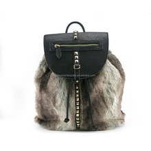 2015 AW FW new product faux fur fashion studded women backpack with black PU drawstring