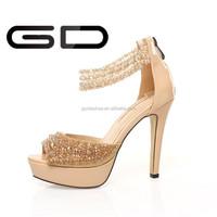 Fancy Rhinestone Upper Open Toe High Heel Shoes for elegant lady