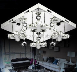 2015 Elegant crystal light silver home square led ceiling light