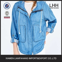 LHH-Mid -weight light-washed denim at zip front and snap button blacket women jacket