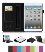 rotate case for iPad mini 2-black pu leather case, card holder