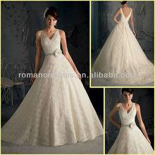 Hot Sale BU0009 Sexy Bernadette V Neck Keyhole Back Beaded Chapel Train Lace Wedding Dress