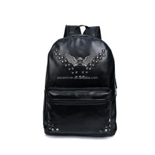 Custom studded stylish black PU women leather backpack