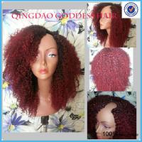 Heavy 180% density red u wigs virgin human hair ombre two tone u part wig kinky curly