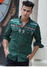 D61846W 2013 men's fashion folk style printing washed man's shirt