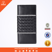 Handmade Weave Surface Laser Punching White and Black Genuine Leather Wallet Famous Brand