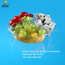 good service clear plastic biodegredable fresh-cut fruit tray SGL-180 three compartments