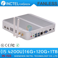 Fanless factor pc i5 with Intel Core i5 4200U 1.6Ghz Haswell Architecture SOC design 16G RAM 120G SSD 1TB HDD