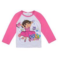 Dora Fashion girls long sleeve tshirts pink cotton tee kids fashion graphic tees