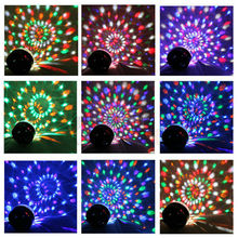 6 Color Changing RGB Crystal Magic Rotating Ball Effect Voice Activated LED Stage Light for KTV Xmas Party Wedding
