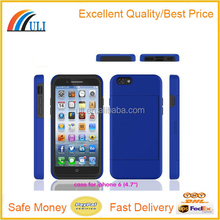 "High quality card slot silicone+PC phone case for iphone 6 4.7"",silicone mobile case for iphone cover"